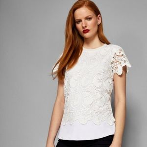 Ted Baker Lace Front Short Sleeve Knit Top